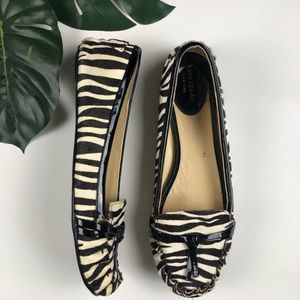 Kate Spade Zebra Print Pony Hair Loafers Size 8M